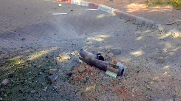 A fragment of one of four rockets fired from Lebanon into northern Israel, Thursday, August 22, 2013. (photo credit: screen capture/Channel 2)