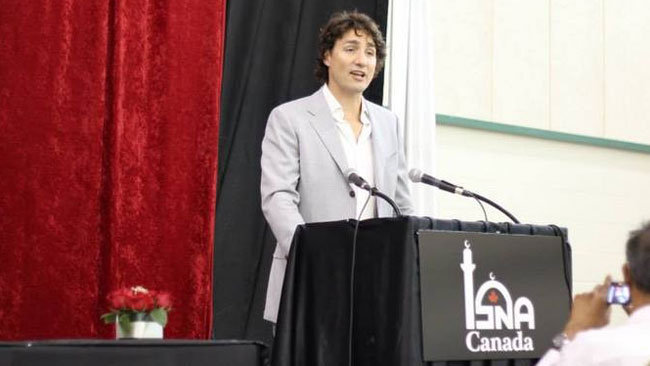 Justin Trudeau addresses ISNA Canada event in July. (ISNA Canada Facebook page)