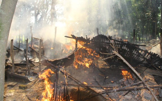 Houses of Hinus are burning at Namopara village in Barisal Sadar this morning.