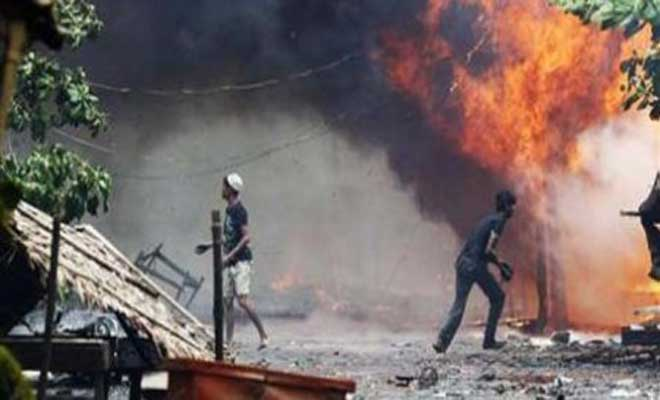 A Muslim mob burned down 26 Hindu houses in Bangladesh's Pabna district on Saturday. The attack was provoked after alleged reports of a Hindu boy committing blasphemy. (Reuters image)
