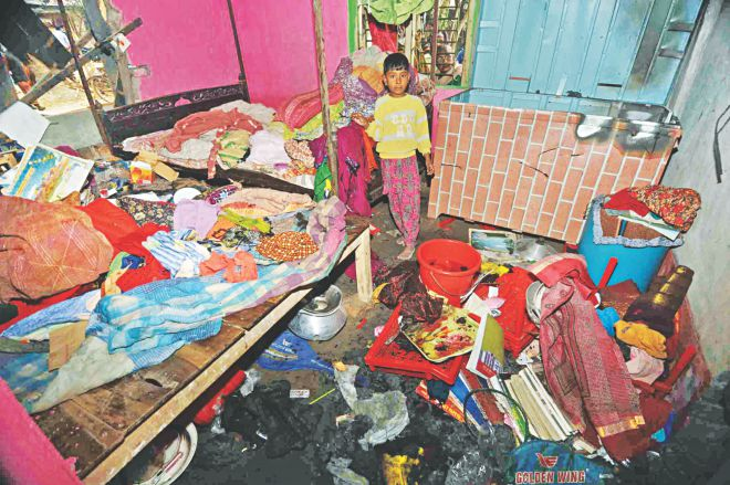 The house of a Hindu family in Malopara village in Jessore bears the signs of a post-polls attack.