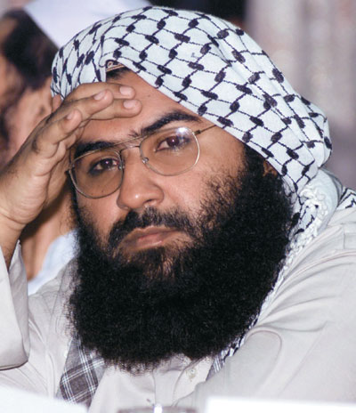 File photo of Maulana Masood Azhar attending a pro-Taliban conference organised by the Afghan Defence Council in Islamabad. (Reuters Photo)