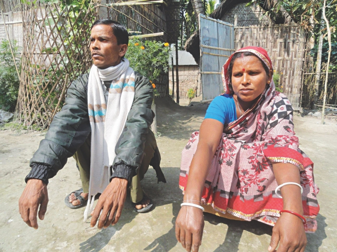 Bhabani Kanta Sen at Rasulpur of Patgram in Lalmonirhat. The Hindu family had to seek help of the police to ward off the aggression by the ruling party man.